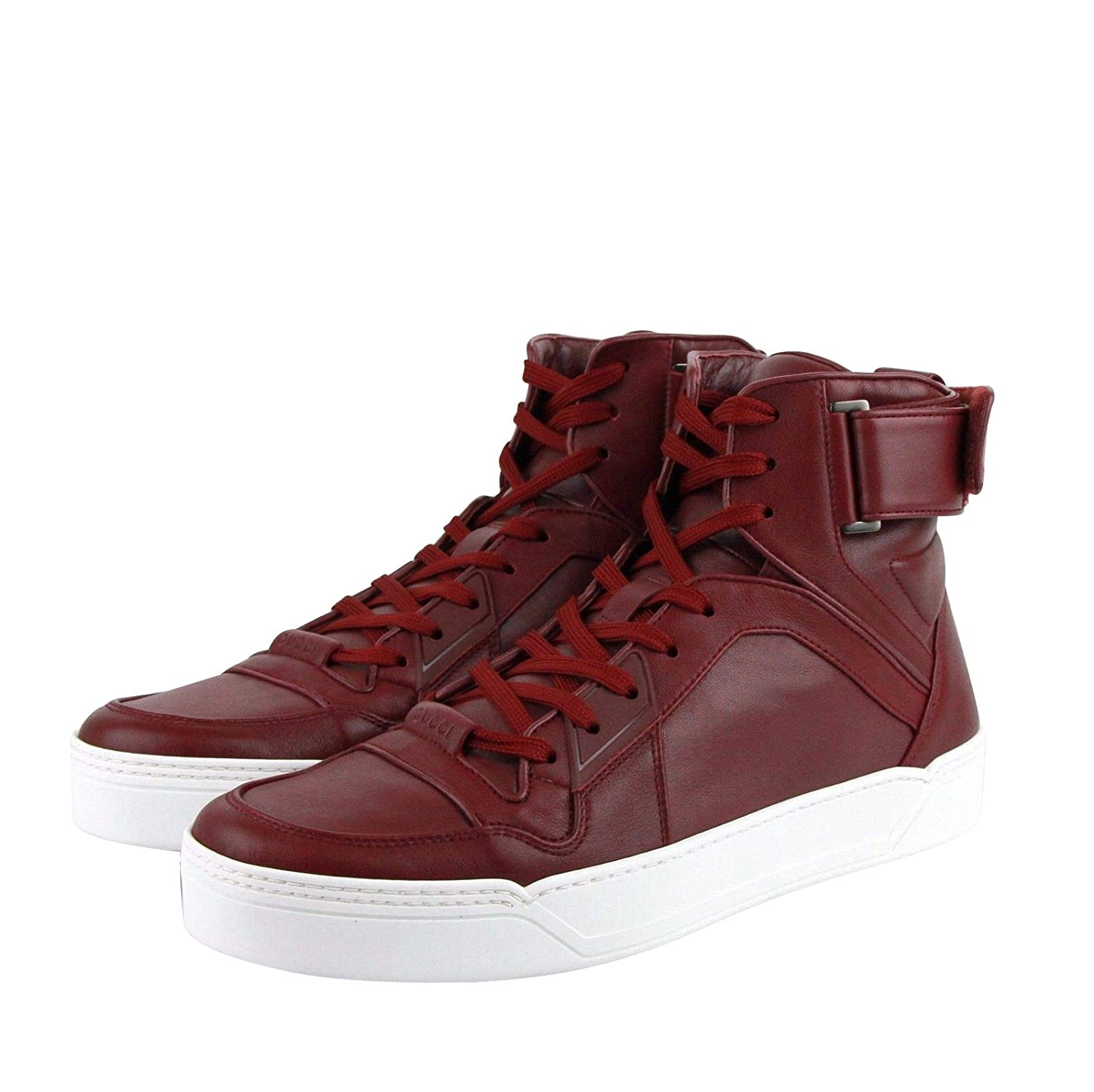 9ca41ffe5702 Amazon.com  Gucci High Top Strong Dark Red Leather Sneakers with Strap  386738 6148  Shoes