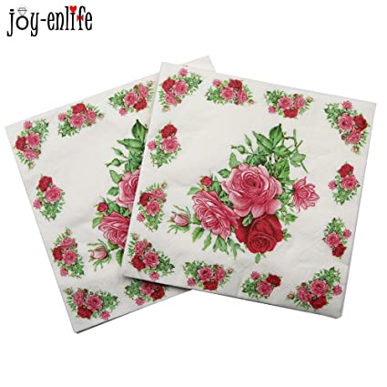 Generic Brown 20pcsbag Paper Napkin Rose Flower Servilletas