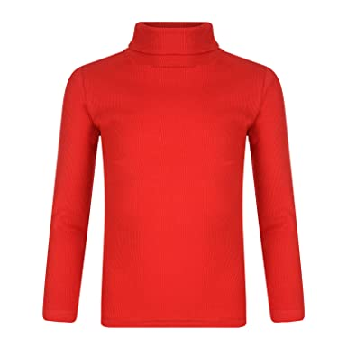 b4445ecc55b1 Kids Boys Girls Polo Neck Ribbed Jumper Top Turtle Roll Neck  Amazon.co.uk   Clothing