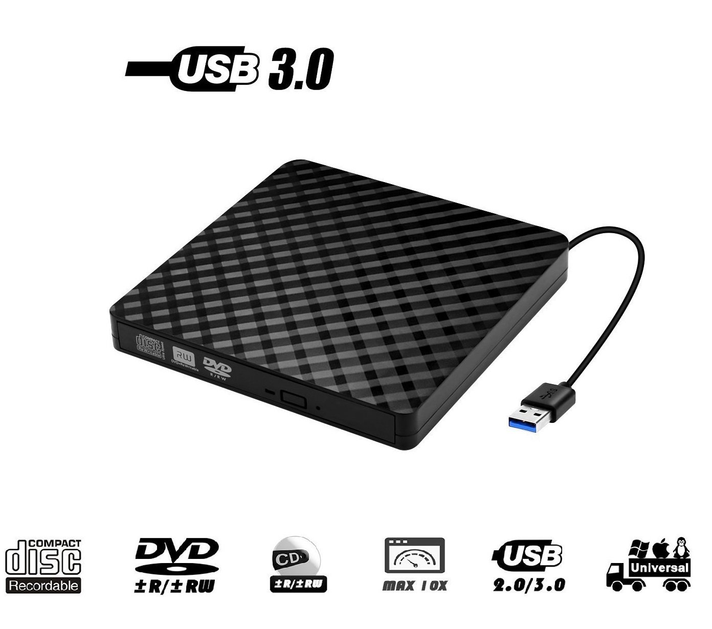 External DVD Drive, Fellee Portable Slim USB 3.0 DVD/CD Re-Writer Burner Superdrive, High Speed Data Transfer Optical +/-RW Drive (High Speed USB 3.0)