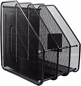 AlfOffice 3 Compartment Metal Desktop File Holder Rack | Black Wire Mesh Document Organizer Caddy for Home or Office Desk | 3 Tier Vertical Sorter for Mail, Magazines, Books, Papers
