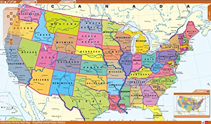 Amazoncom Home Comforts Laminated Map Interactive Map Usa Cities - Southern-us-map-with-cities