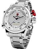 SHARK - SH104 - Montre Homme Sportive - Quartz - LED/Jour/date/Digital - Bracelet Argenté Acier Inoxydable