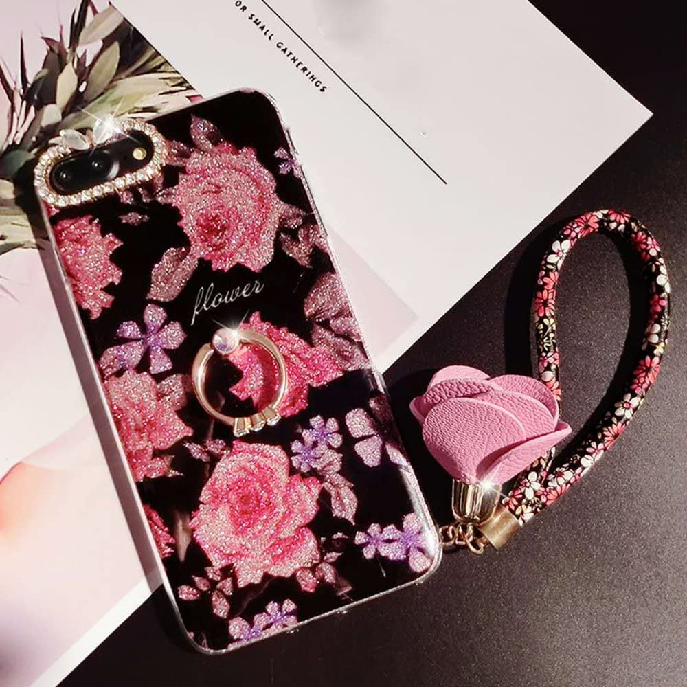 iPhone 7/8 Floral Case, Cute Girl Flower Design Case Bling Diamond Ring Holder Rose Pendant Soft Silicone Transparent Plastic Case with TPU Bumper Protective Cover for Apple Phone 7/ (Rose flower, 1)