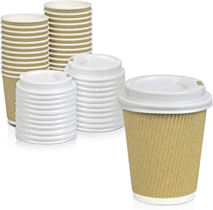 [50 Pack] Disposable Hot Cups with Lids - 8 oz Brown Double Wall Insulated Ripple Sleeves Coffee Cups with White Dome Lid - Kraft Paper Cup for To Go Chocolate, Tea, and Cocoa Drinks