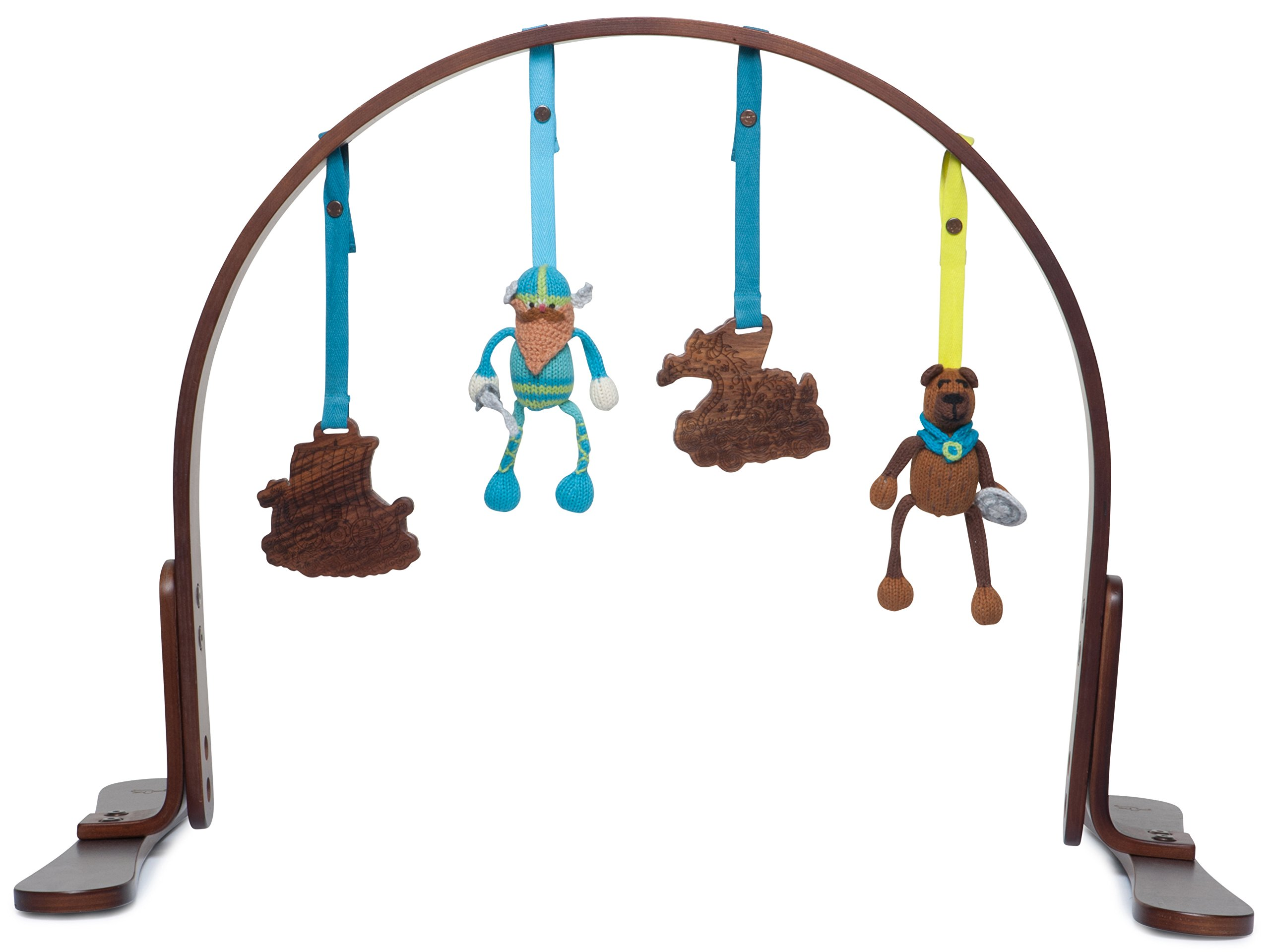 Finn + Emma Play Gym, Organic Cotton and Natural Wood with Hand-Knit Rattle and Teether Stroller Toys for Baby Boy or Girl – Vikings - Dark