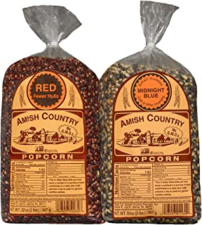 product image for Amish Country Popcorn   2 - 2 lb Bags   2 lb Bag Red Popcorn Kernels & 2 lb Bag Midnight Blue Popcorn Kernels   Old Fashioned with Recipe Guide