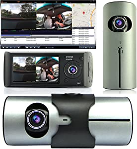 "Indigi Dash Cam 2.7"" TFT LCD Dual Camera Lens Car DVR IR Night Vision GPS Tracker - New"