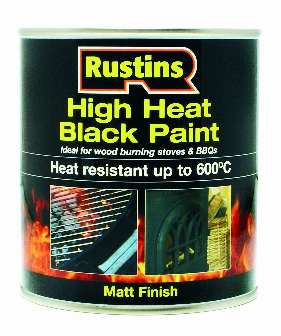 Rustins 250ml High Heat Paint - Black HRBL250
