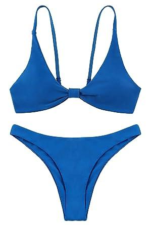 b23d19731c Lemonfish Sexy Women s Thong Bikini Adjustable Spaghetti Straps Knot  Brazilian Top Thong Cheeky Bottom Set(