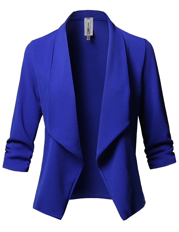 Awesome21 Womens Stretch 3//4 Gathered Sleeve Open Blazer Jacket
