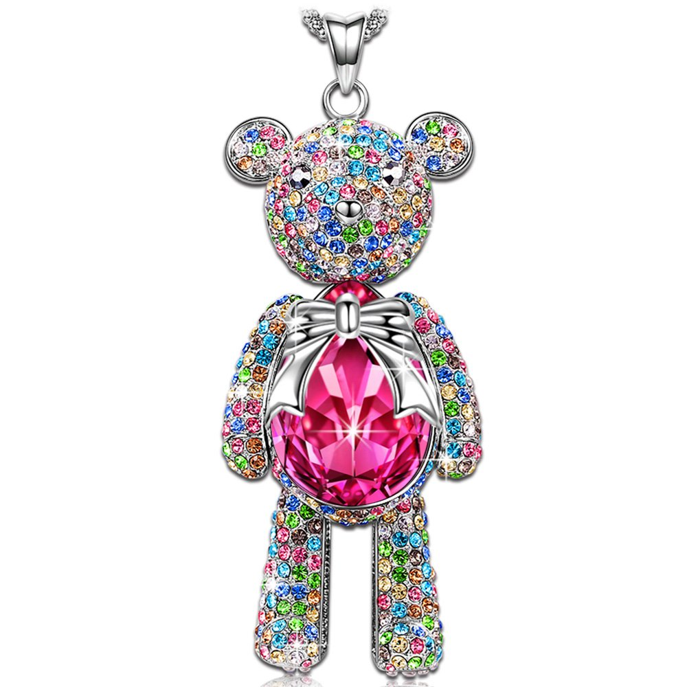 LADY COLOUR Lucky Teddy Pendant Necklace Ruby Swarovski Crystals Jewelry for Women Birthday Gifts for Teens Girls for Girlfriend Daughter Granddaughter Back to School Gifts for Her