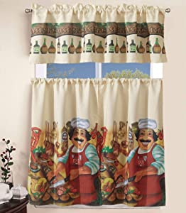 """Superior Home 3 Piece Kitchen Curtain Linen Set with 2 Tiers 27"""" W (Total Width 54"""") x 36"""" L and 1 Tailored Valance 54"""" W x 15"""" L, Tucancy Italy Chef Pizza Cooking Design Kitchen Curtain Décor Linen"""