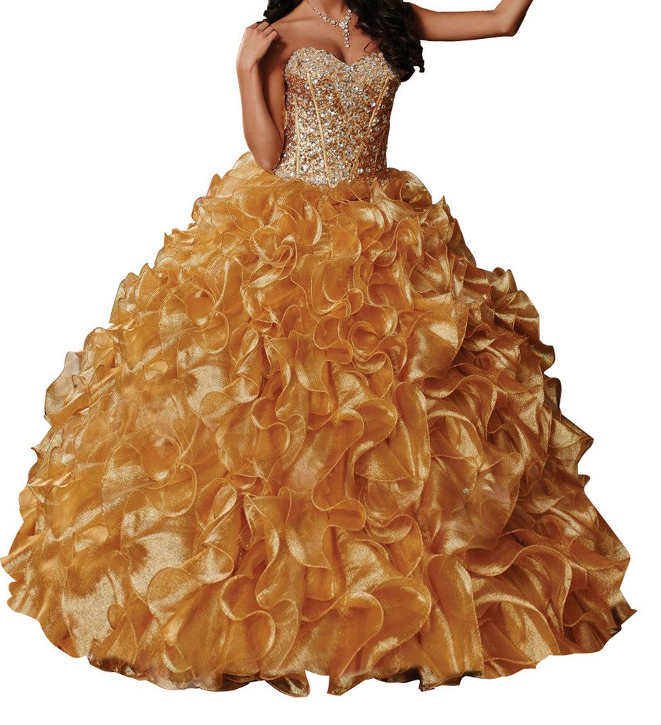 BoShi Women's Sweetheart Crystal Ruffled Sweet 15 Evening Gowns Quinceanera Dresses 6 US Gold