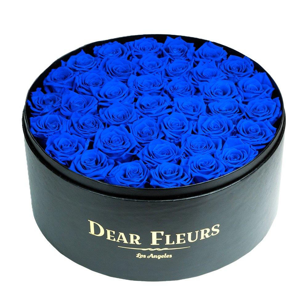 DearFleurs Handmade Preserved Flower Large Circle Roses Box, Fresh Rose, Eternity Rose, Gift for Valentine's Day, Anniversary, Birthday (Black)