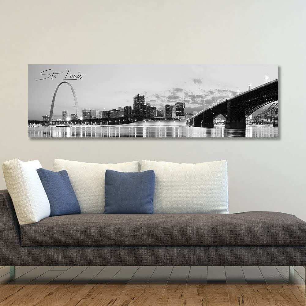 "WallsThatSpeak Panoramic St. Louis Cityscape Picture, Black and White Stretched Canvas Art Prints, Wall Decoration for Bedroom or Office, Framed and Ready to Hang, 14"" x 48"""