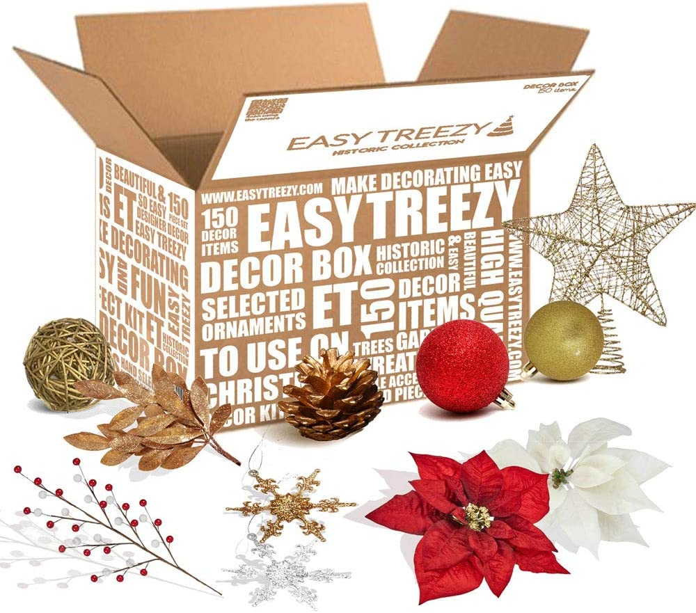 Easy Treezy Christmas Ornaments Set, 150 Piece Seasonal Holiday Decor Decoration Sets for Trees, Best Xmas Tree Decorations and Ornaments Balls (Red/Glod/White Decor Kit (150 Pieces))