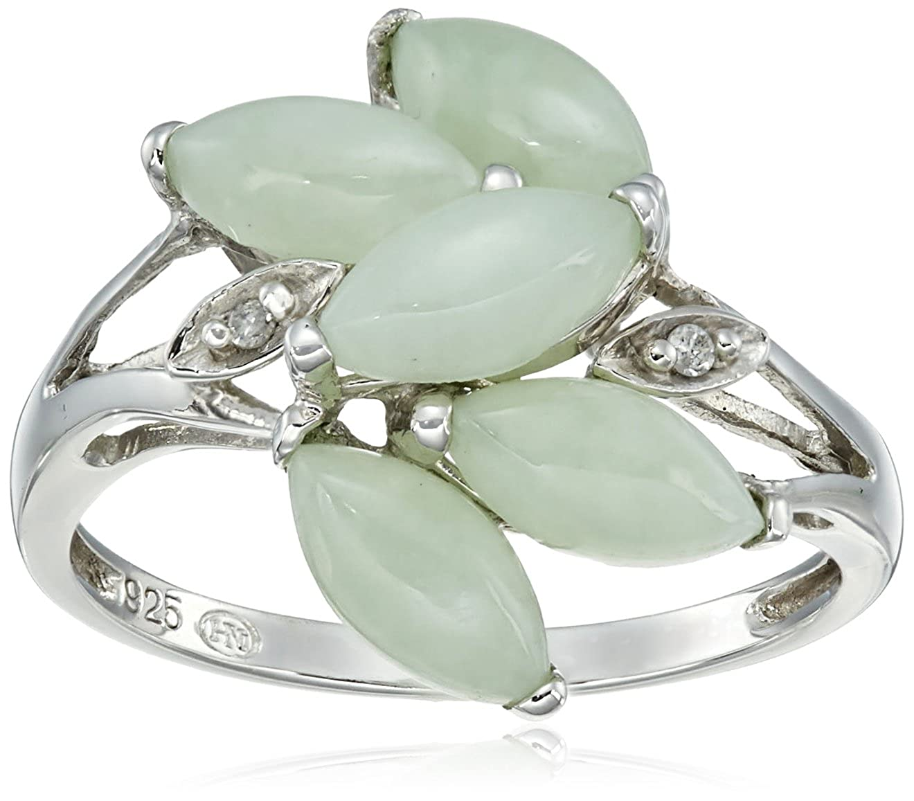 Sterling Silver Green Jade and Diamond Accent Ring, Size 7 T31717JASS