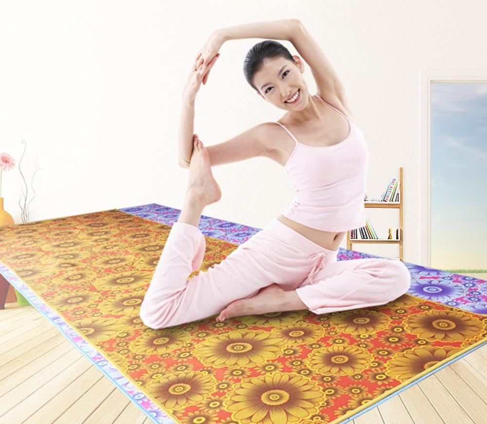 HZJ Yoga Starter Kit-Dauerhafte Yoga-Tuch Eco Friendly Rutschfeste Yoga-Matte, NatüRliche Komfortable Yoga Und Pilates Mikrofaser Matte, Sport Komfortable