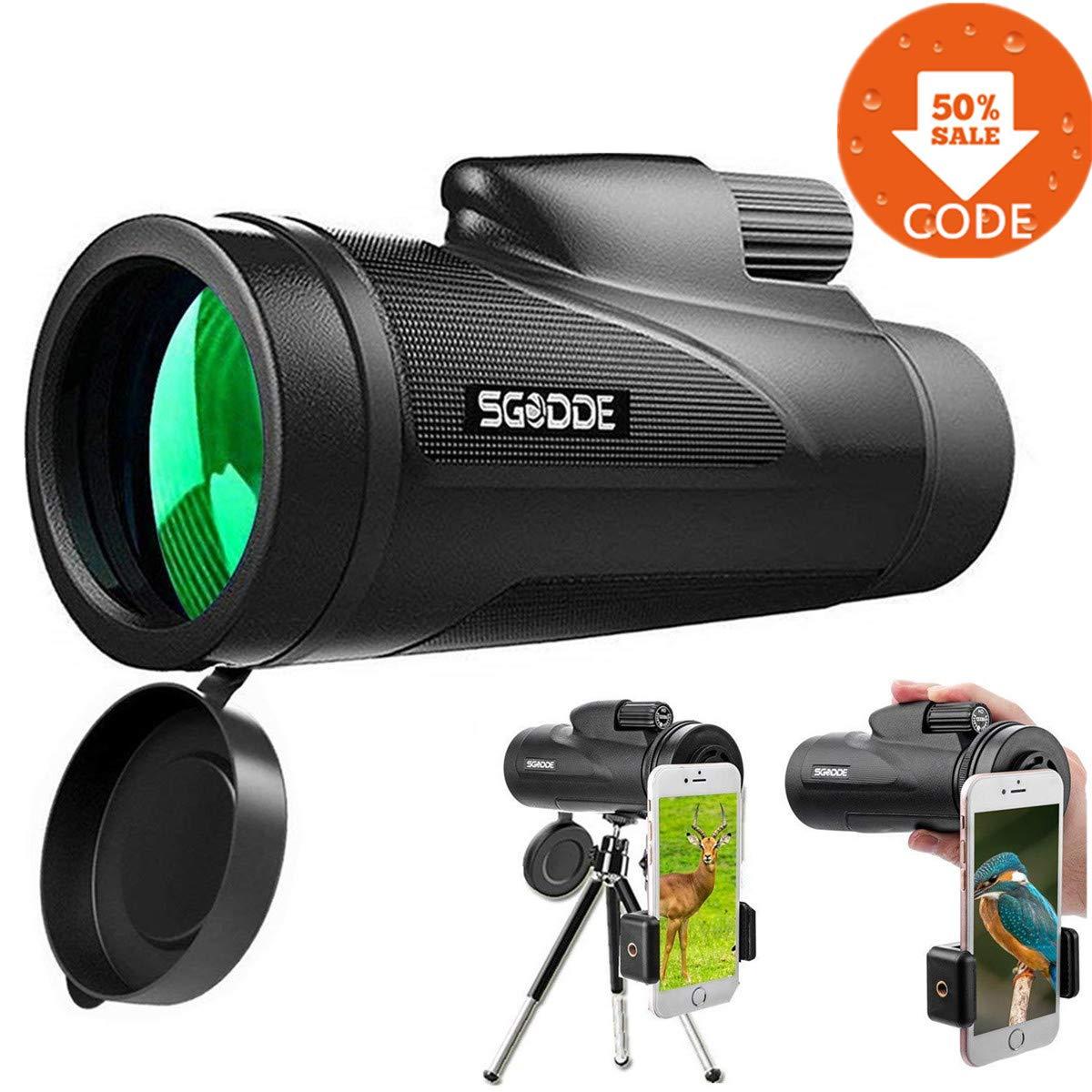 Camping Observation des Oiseau SGODDE HD Spotting Scope Portable Vision Nocturne Imperm/éable avec Dragonne // Tr/épied et Adaptateur Universel Id/éal pour Randonn/ée 12x50 T/él/éscope Monoculaire