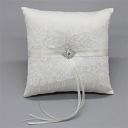 Amazon Com Hoxekle Ivory Satin Rhinestone And Lace Wedding Ring