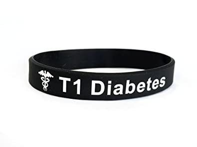 Butler & Grace T1 Diabetes wristband medical alert ID bracelet type 1 one T1D diabetic black white silicone band by vJSnX0r