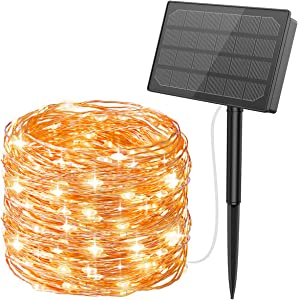 (2020 New) AMIR Solar String Lights, 164FT 500 LED Solar Fairy Lights, 8 Modes Copper Wire Starry Lights Outdoor Waterproof for Christmas, Garden, Yard, Party, Camping, Patio, Tree (Warm White)