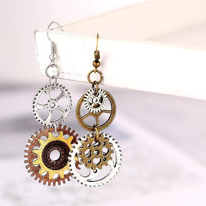 Clockwork metal heart earrings