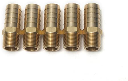 5 Pack 5//8 HOSE BARB X 3//4 MALE NPT Brass Pipe Fitting NPT Gas Fuel Water Air