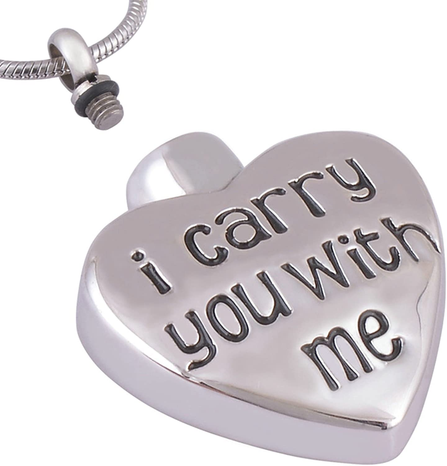 Bishilin Stainless Steel Silver I Carry You With Me Heart Tag Cremation Memorial Urn Necklaces