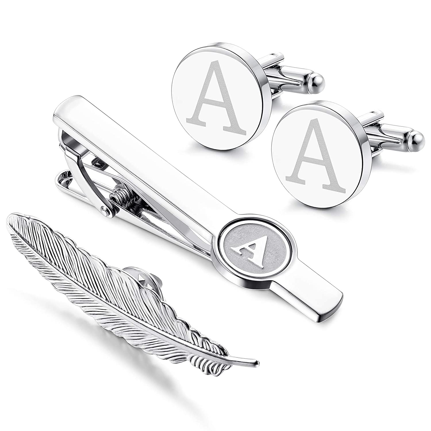 LOYALLOOK Initial Cufflinks and Tie Clip for Men Women Engraved Shirt  Cufflink Alphabet A-Z Tie Bar Set for Business Wedding Gift with Box 76ccacbdf
