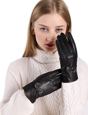 Ladies Womens Girls Warm Wool Smooth Flower Winter Gloves For Wedding Evening