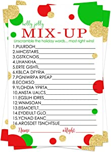 Christmas Word Scramble Game (25 Cards) Holiday Party Supplies - Festive Unscramble Trivia - Winter Family Events - Groups Adults Kids - Red Green Gold