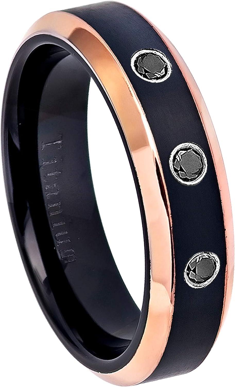 0.21ctw Black Diamond 3-Stone Titanium Ring 6MM Black Ion Plated /& Rose Gold Plated Beveled Edge Comfort Fit Titanium Wedding Band April Birthstone Ring