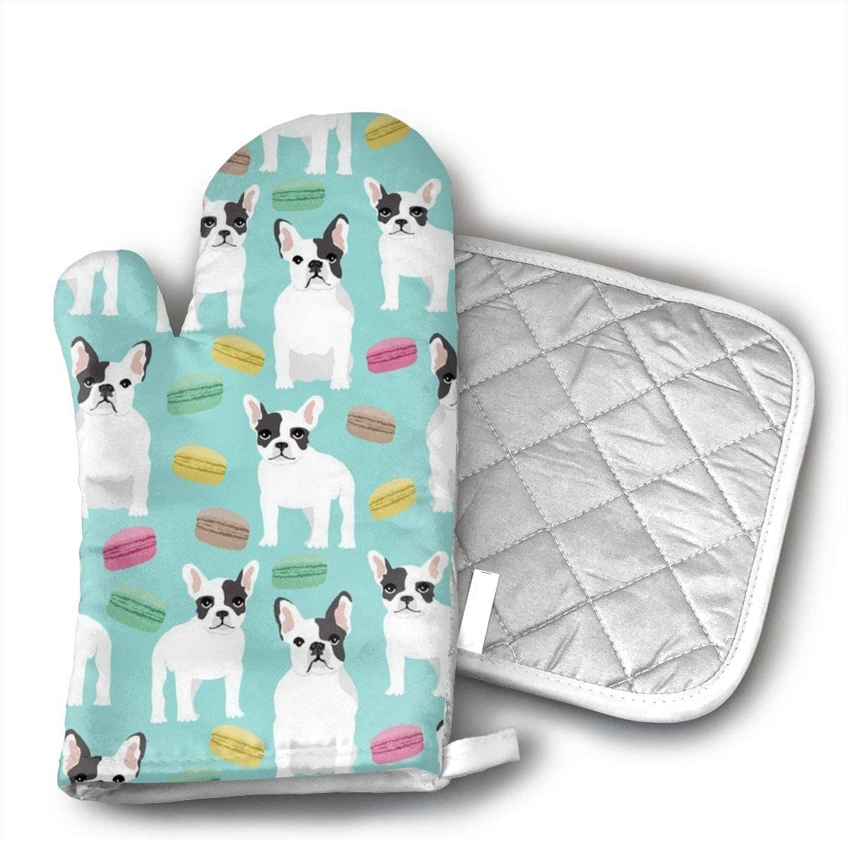 JFNNRUOP French Bulldog Oven Mitts,with Potholders Oven Gloves,Insulated Quilted Cotton Potholders