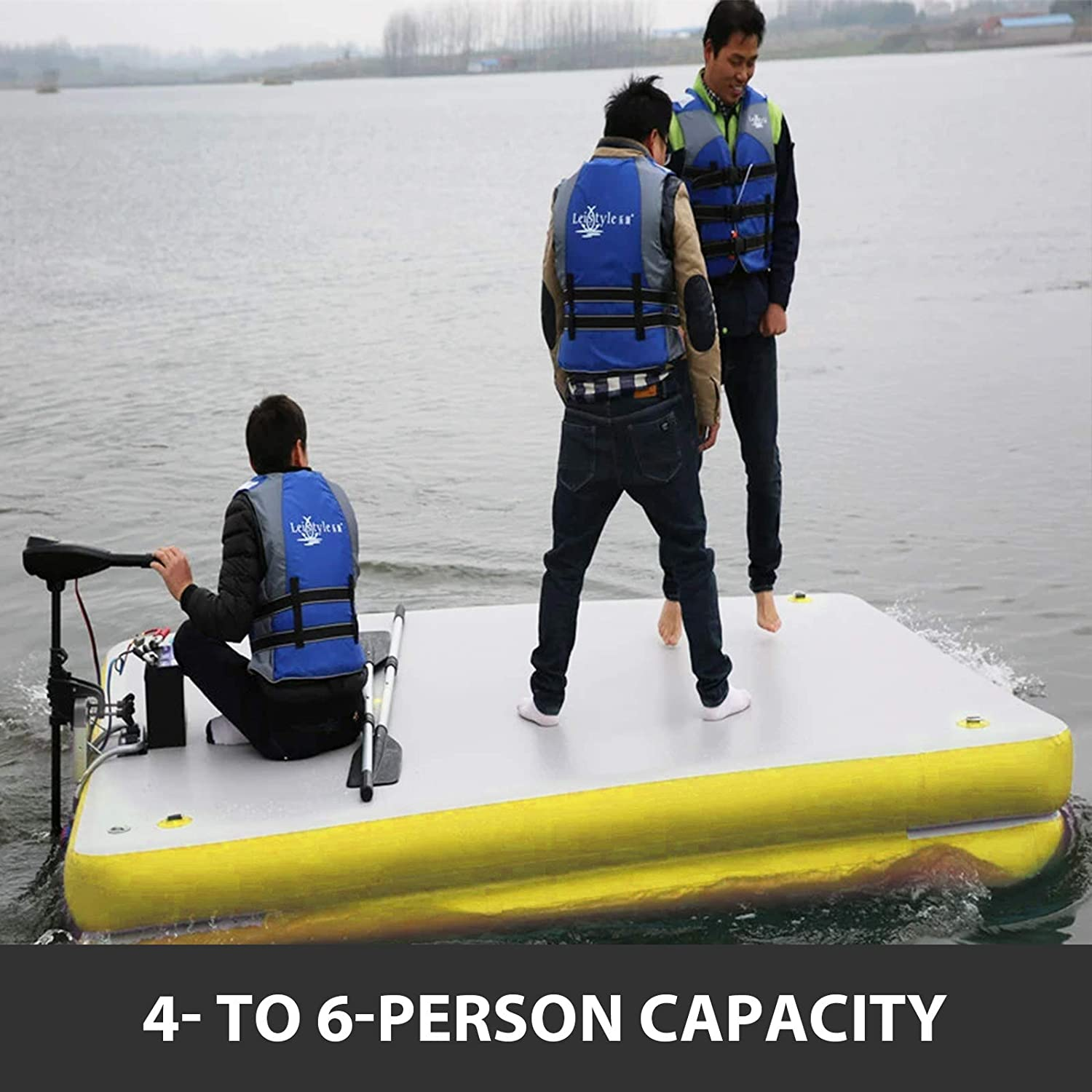 Floating Platform for Pool Beach Ocean Happybuy Inflatable Floating Dock 8/'x 6/'x 6 inches Thick Inflatable Dock Platform 4-6 People