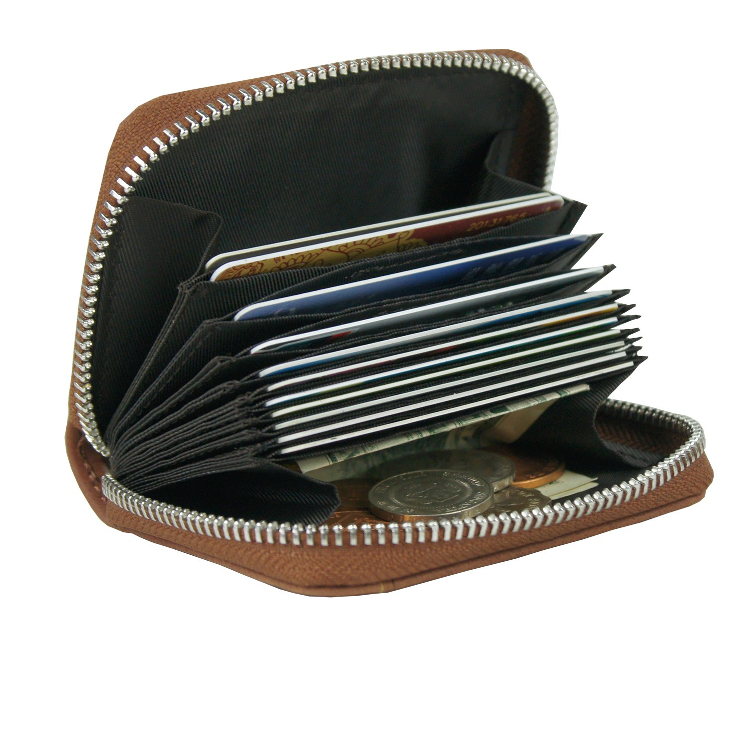 RFID Blocking Coin Pouch Purse Credit Card Case Holder Wallet With Zipper (Light Brown) Yiwu Kuke Leather Co. Ltd