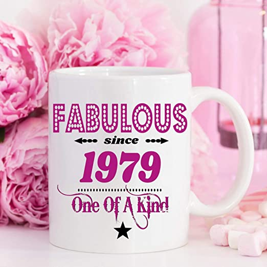 Taza de 40 cumpleaños con texto en inglés «Fabulous and ...