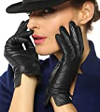 WARMEN Women's Touchscreen Texting Genuine Nappa Leather Glove Winter Warm Simple Plain Cashmere & Wool Blend Lined Gloves