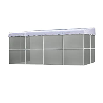 Patio Mate 8 Panel Screen Enclosure 89322, White With Gray Roof
