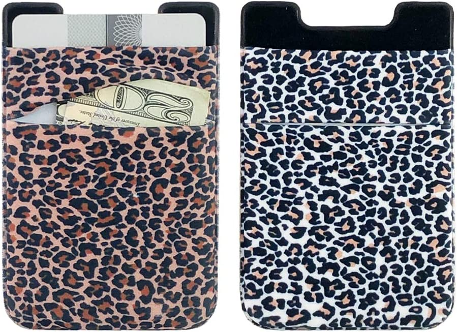 Leopard Ac.y.c 2Pack Adhesive Cell Phone Pocket-Stretchy Lycra Card Holder Phone Stick on Wallet Credit Card ID Case Pouch Sleeve 3M Sticker for Back of iPhone Android Smartphone