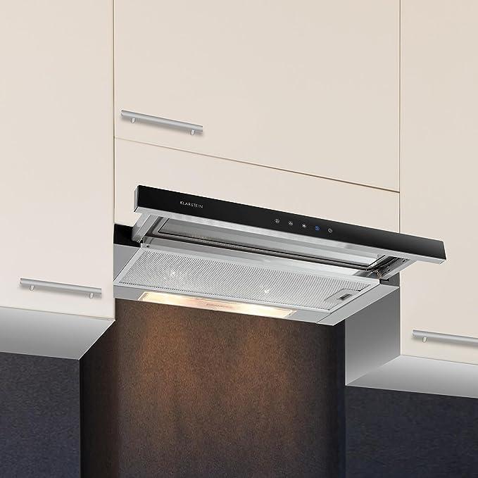 Klarstein Elitessa Campana de aspiración multifuncional de cocina a pared (60 cm, 330 m³/h, 3 niveles, función Riciclo Aire, Filtro de aluminio, Timeout, montaje a pared, Clase F) – Gris: Amazon.es: Hogar