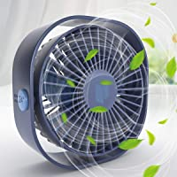 Renfox USB-ventilator, 3 snelheden, mini-ventilator, USB-tafelventilator met windrichting instelbaar, voor op het bureau…