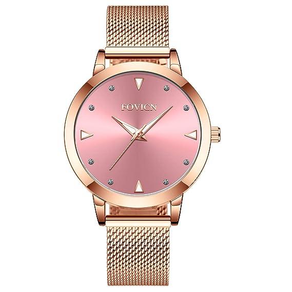 Reloj de Oro Rosa para Mujer Reloj de Cuarzo analógico de Malla de Acero Inoxidable para Mujer de Moda Casual Relojes