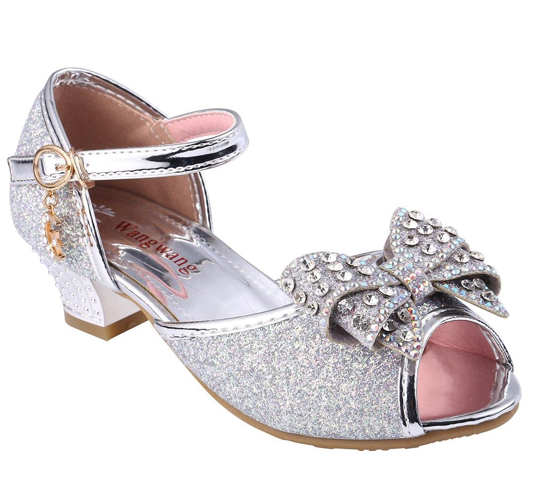 Wangwang Little Girl Dress Sandals Rhinestone Bow-Knot Princess Shoes (5 M US Big Kid, Silver)