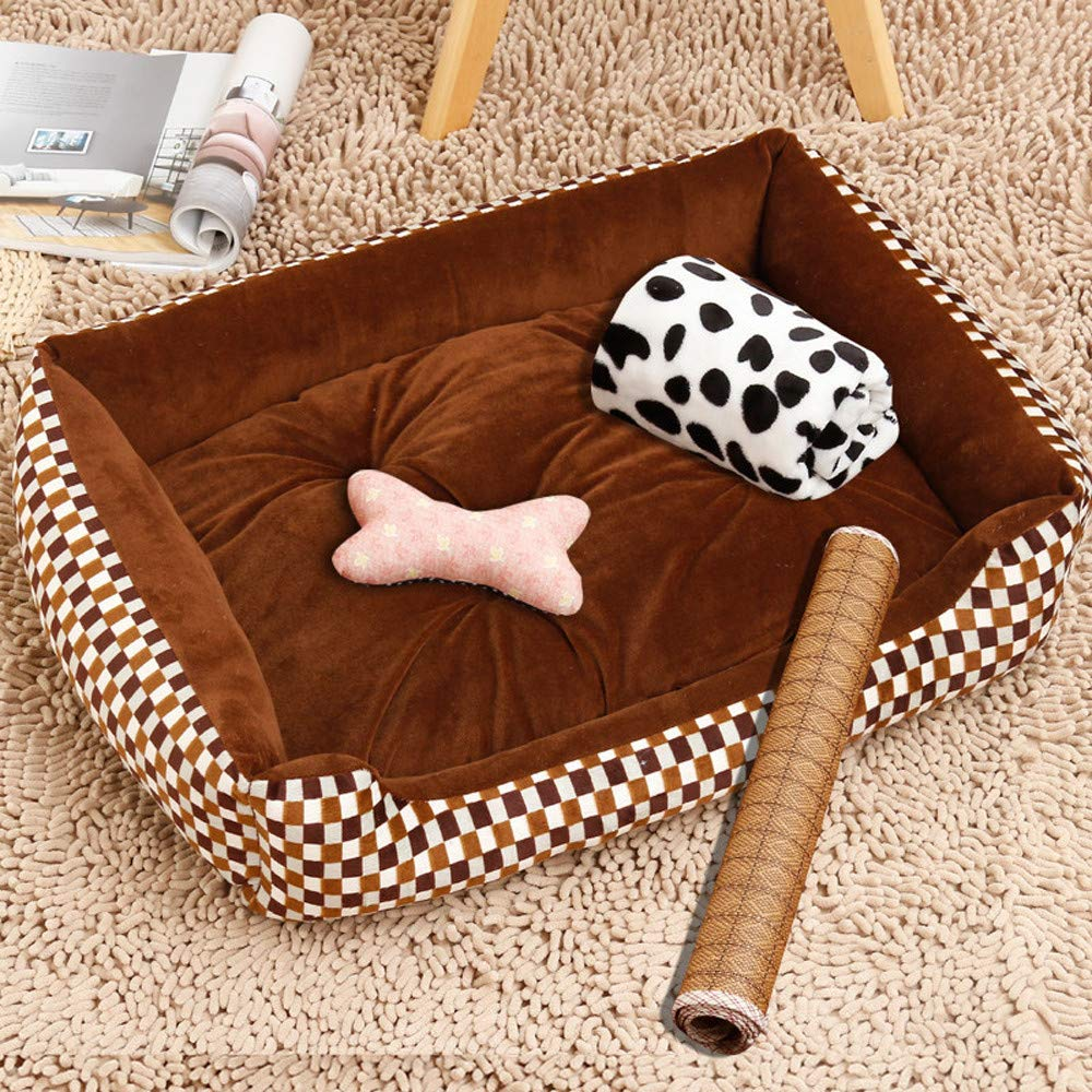 Brown lattice 8060cmPetxwbed Kennel Cat Litter Pet Supplies Winter Warm Small Medium And Large Dogs Pet Dog Dog MatBrown Lattice8060Cm