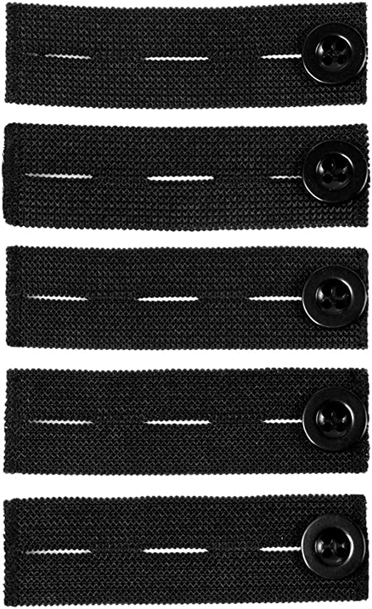 Comfy Clothiers Elastic Waist Extenders for Pants and Shorts - Black (Set of 5)