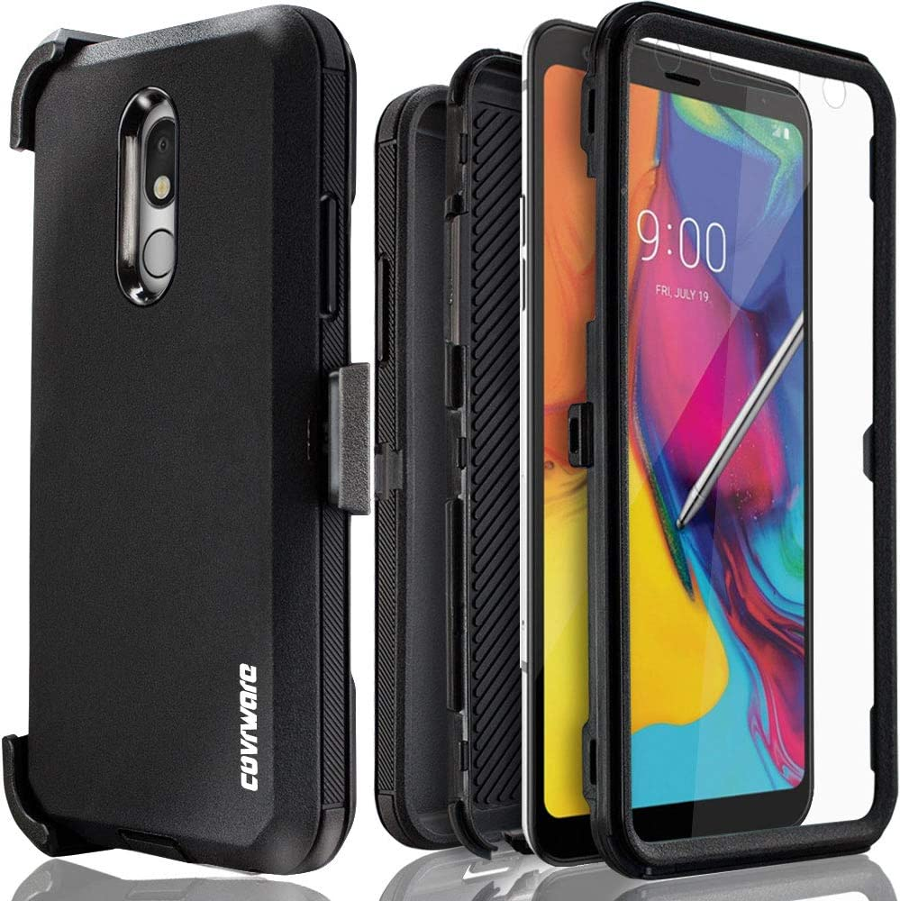 LG Stylo 5 Case, COVRWARE [Tri Series] with Built-in [Screen Protector] Heavy Duty Full-Body Triple Layers Protective Armor Holster Cover [Swivel Belt-Clip][Kickstand], Black