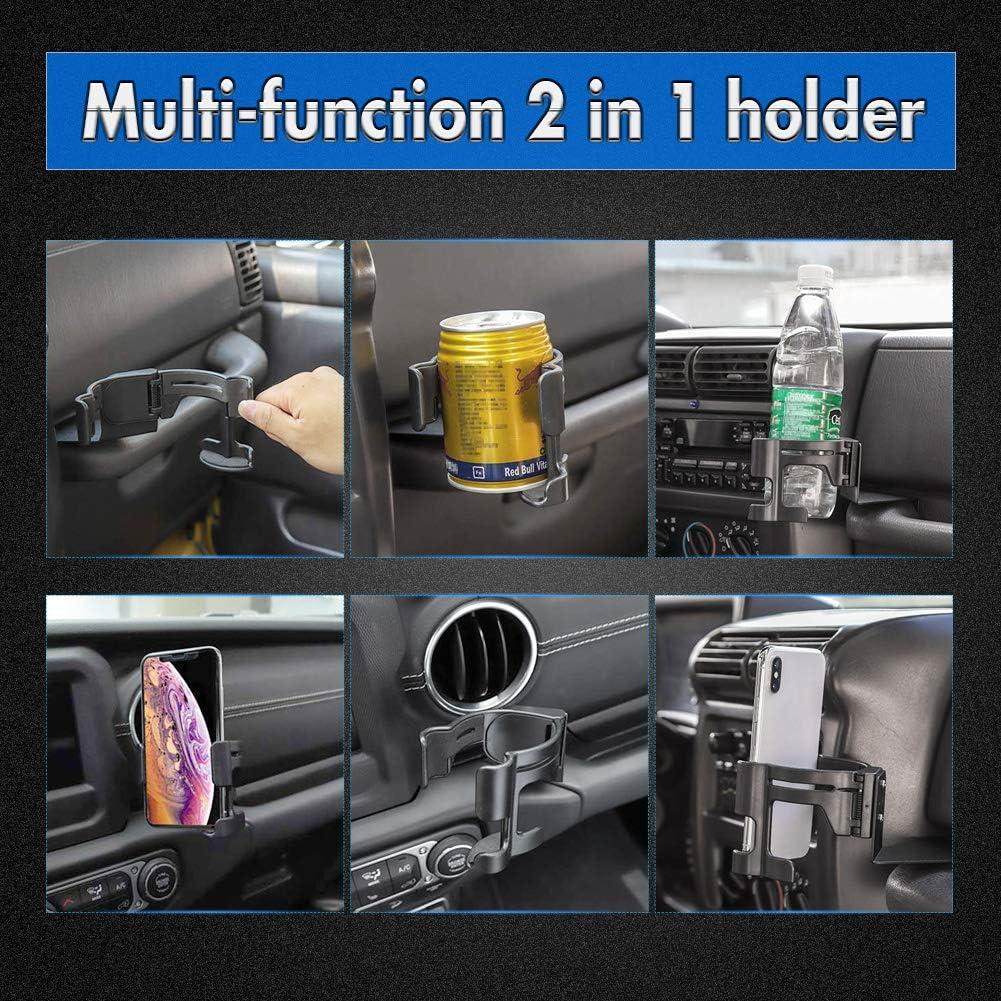 Halterungs-Organizer f/ür Jeep Wrangler 2011-2018 JK JKU Sahara Rubicon /& Unlimited KATUR Multifunktions-Trinkbecher-Flaschenhalter zum Anschrauben