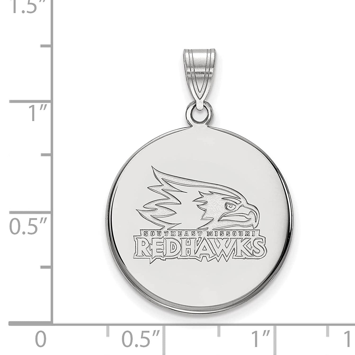 925 Sterling Silver Rhodium-plated Laser-cut SE Missouri State Large Disc Pendant